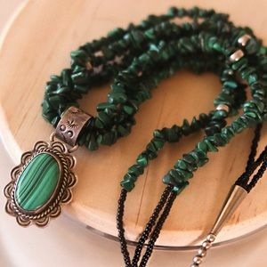Sterling Silver Malachite Necklace